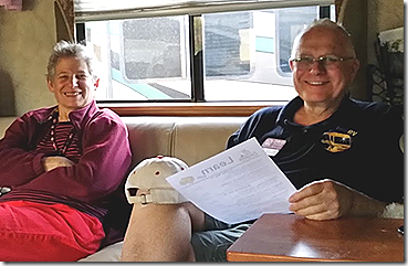David and his wife Lynn in the Geek's motorhome. Chris used this smiling photo for an article on Google+ Photos