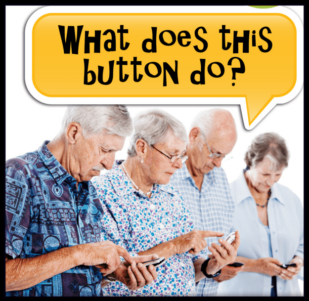 Seniors learning to use smartphones