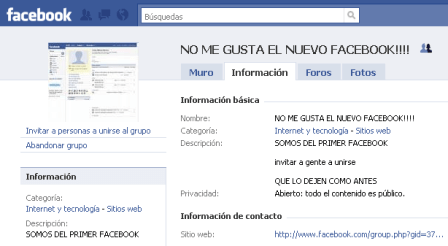 Grupo No me gusta Facebook