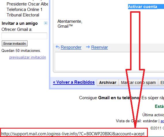 Gmail - No es una URL válida