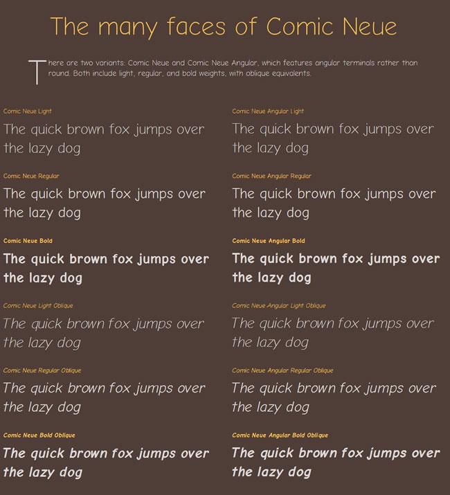 ComicNeueFaces