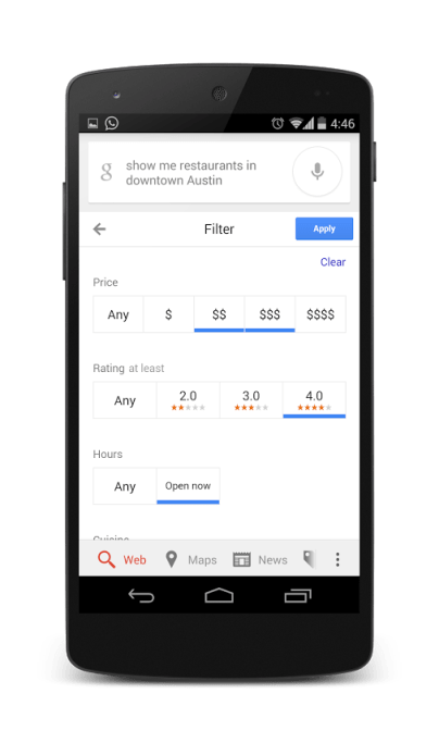 google-search-android-restaurantes-filtros