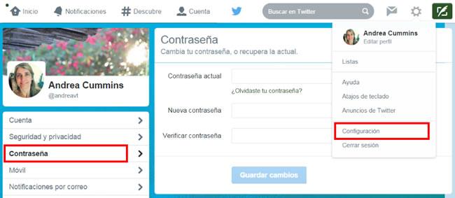 TwitterConfiguración