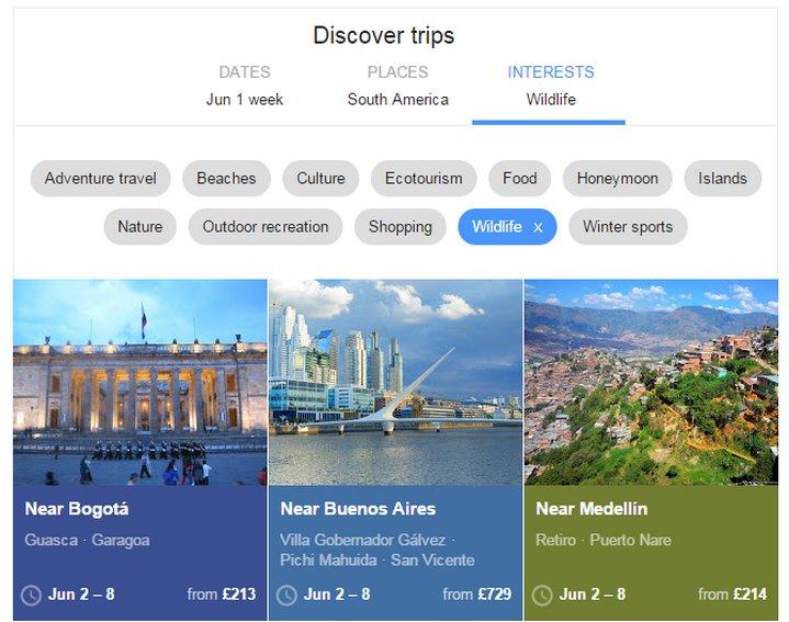 Google Flights ahora permite descubrir lugares de destinos turísticos por interés