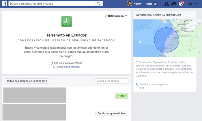 Facebook activa Security Check luego del terremoto en Ecuador