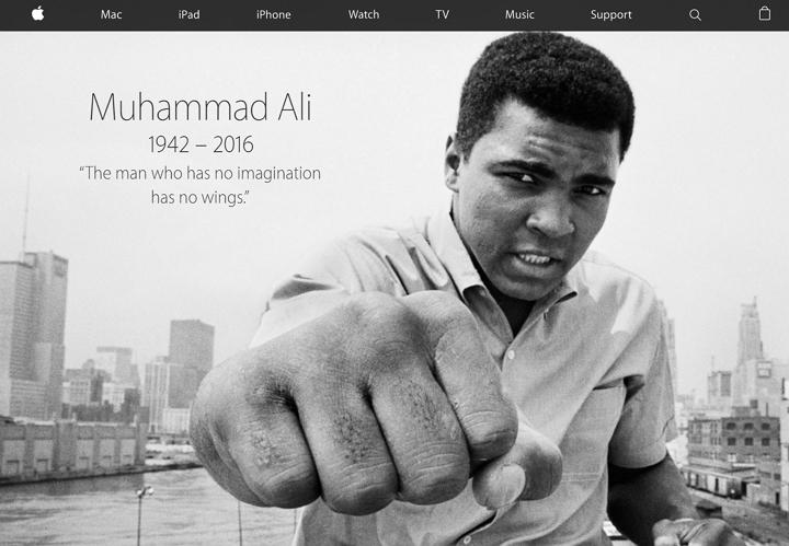 Apple rinde homenaje a Muhammad Ali en su página de inicio