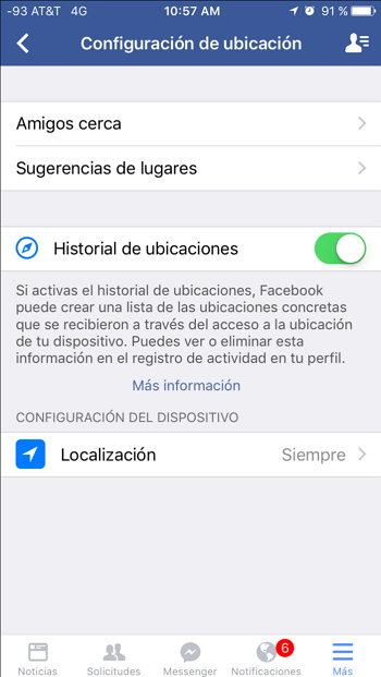 configuracion de ubicacion app ios facebook