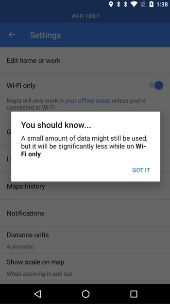 Google Maps WiFi Mode