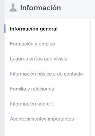 informacion perfil de usuario Facebook