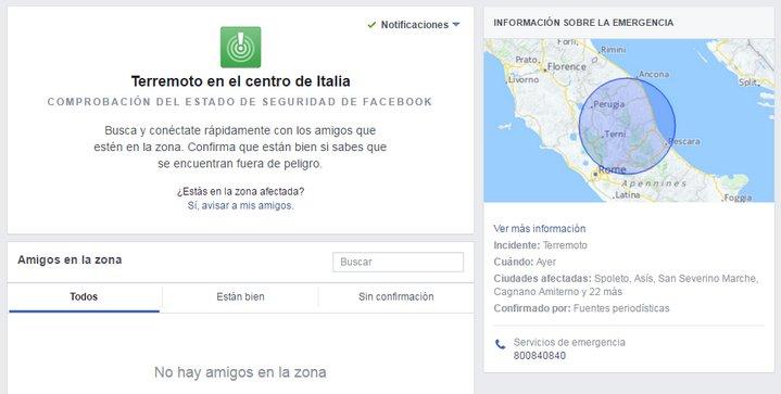 Facebook - Comprobación del Estado de Seguridad - Terremoto en Italia