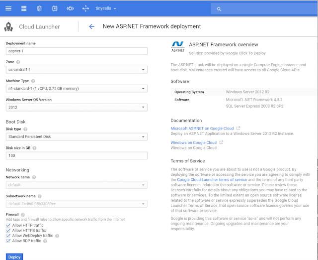 google cloud ASP.NET
