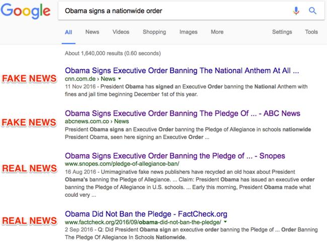 Google Noticias Falsas