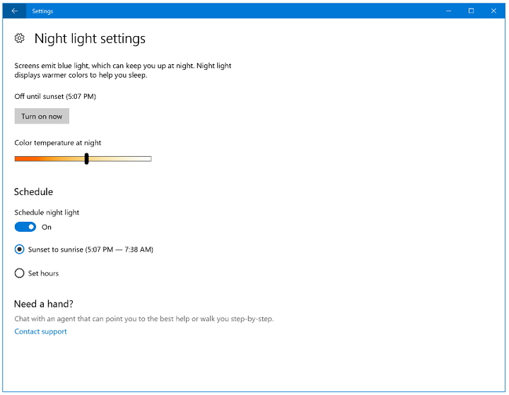 Windows 10 Insider Preview build 15025 - Night Light Color Temperature