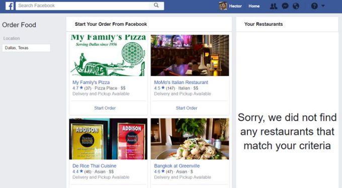 Facebook - Ordenar Comida