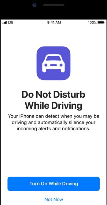 Apple iOS 11 - Do Not Disturb While Driving