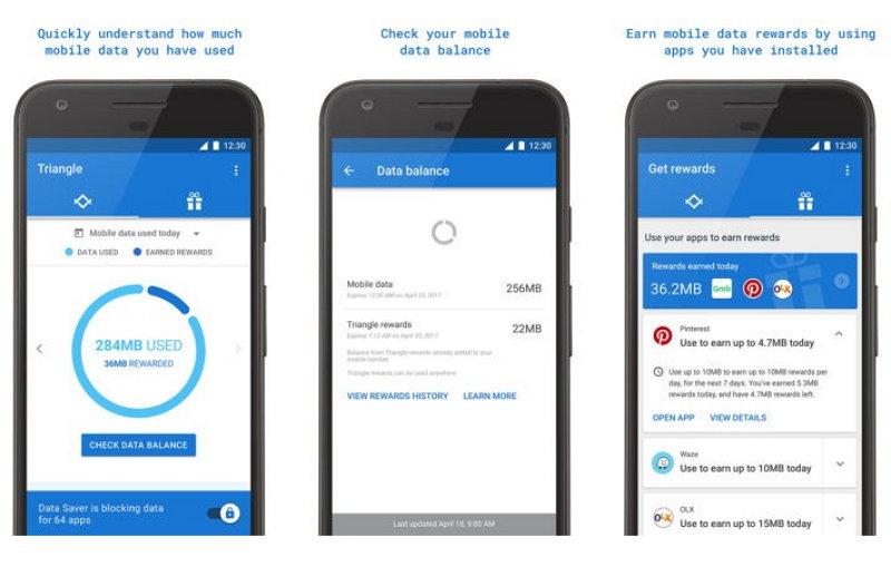 Google Triangle - Ahorrar en el plan de datos móviles
