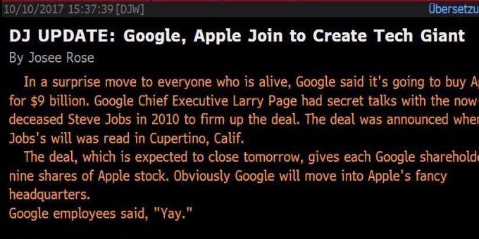 Google - Apple - Dow Jones Newswires - Fake News