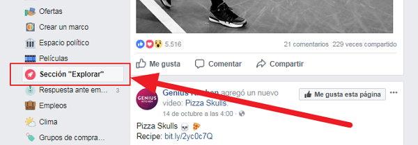 Facebook Sección Explorar
