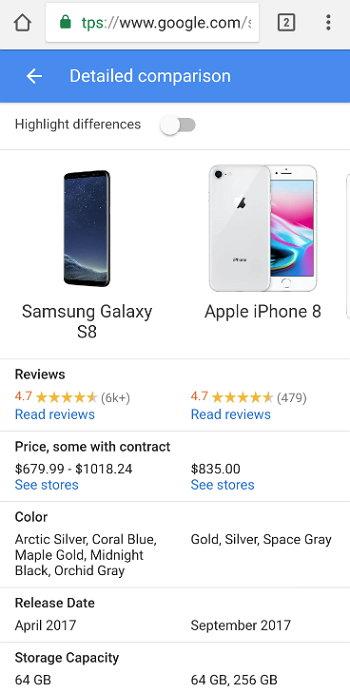 Google - Comparar Smartphones Móviles