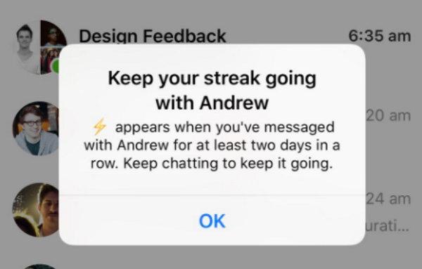 Facebook Messenger Streaks