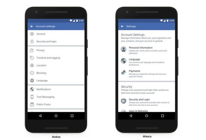 Facebook - Menú de configuración - viejo/nuevo