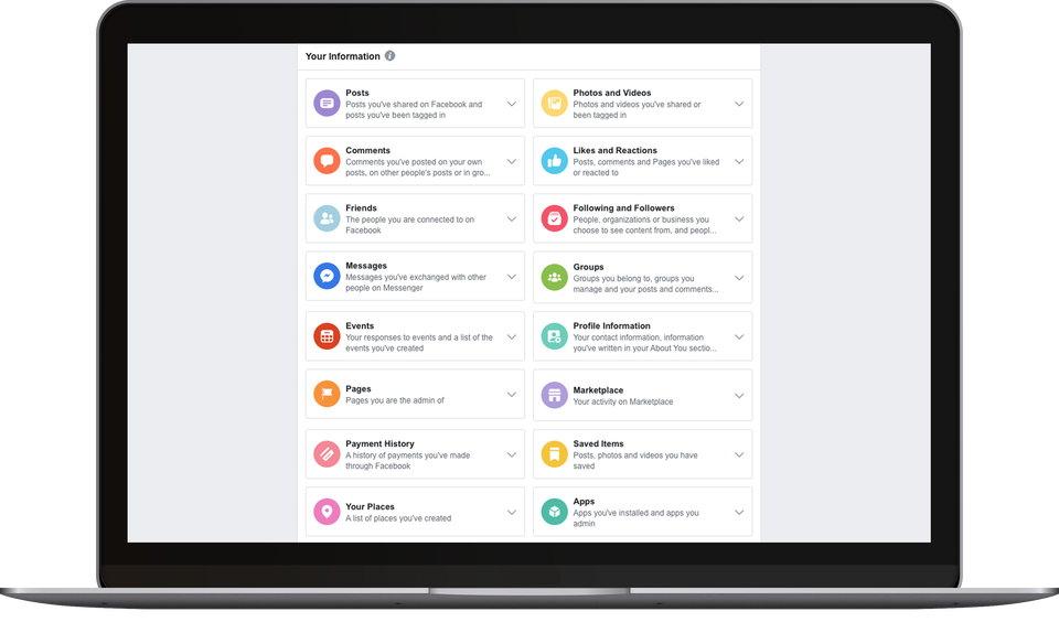 Facebook - Ver - Borrar - Descargar Datos Personales