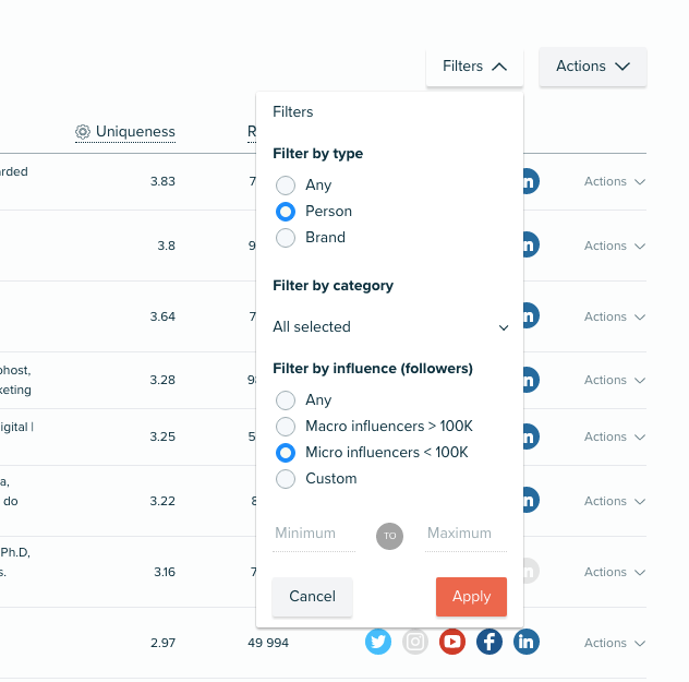 Audiense Insights - Influencers Report