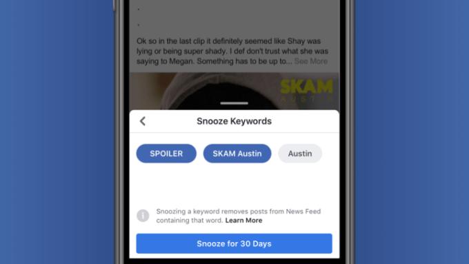 Facebook  Keyword Snooze