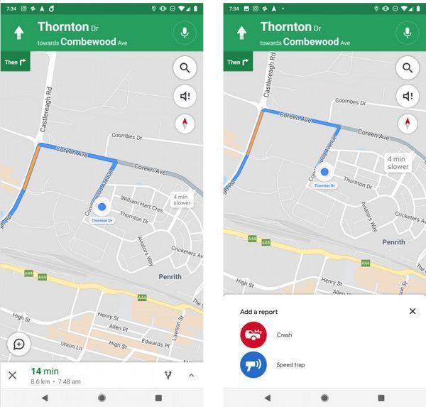 Google Maps - Reportes de Incidentes - Trampas de Velocidad