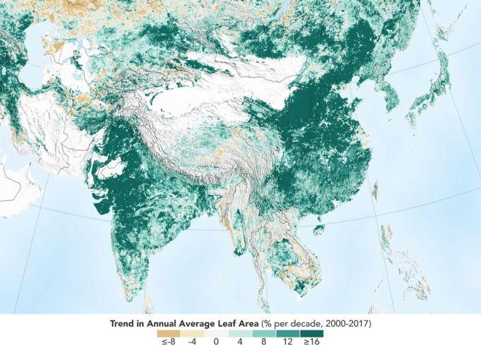 NASA - Planeta más Verde - India y China