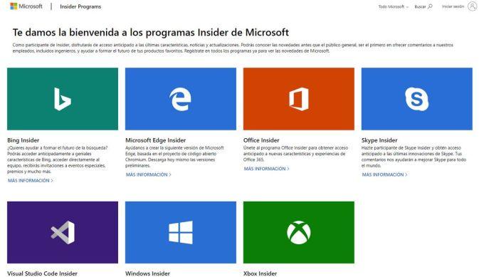 Progrmas Insider de Microsoft