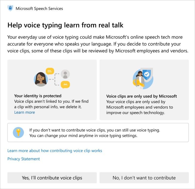 Microsoft Consentimiento - Reconocimiento de voz