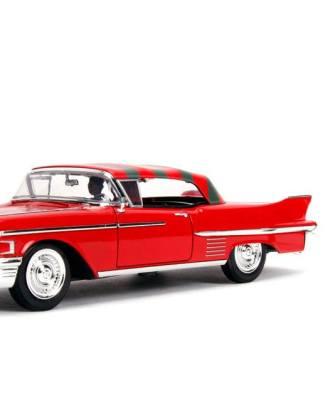 x_jada31102 Nightmare on Elm Street Diecast Model American Horror Rides - 1/24 1958 Cadillac with Figure