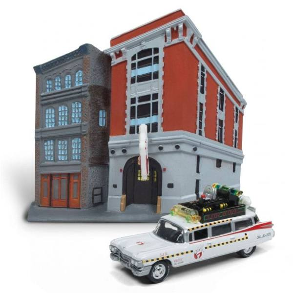 Ghostbusters Diecast Model 1/64 - 1959 Cadillac Ecto-1 & Firehouse Diorama Set