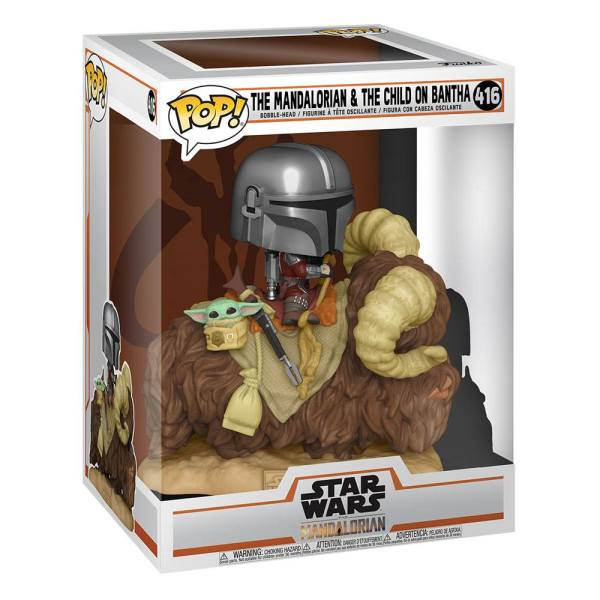 Star Wars The Mandalorian POP! Deluxe Vinyl Figure The Mandalorian on Wantha with Child in Bag 9 cm - fk52373