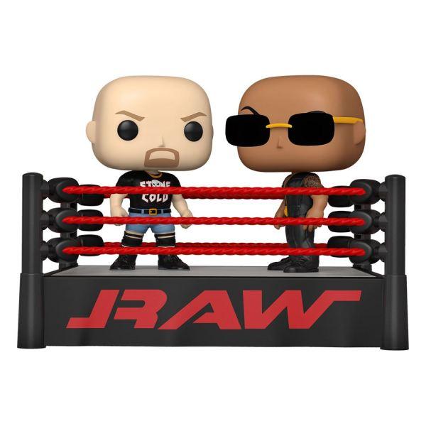 WWE POP Moment! Vinyl Figures 2-Pack The Rock vs Stone Cold in Wrestling Ring 9 cm - fk54661
