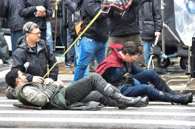 """NEW YORK, NEW YORK - APRIL 02: Actor Benedict Cumberbatch is seen filming """"Doctor Strange"""" on location on April 2, 2016 in New York City. (Photo by Michael Stewart/GC Images)"""