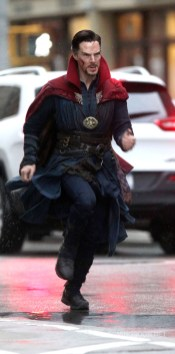 """NEW YORK, NEW YORK - APRIL 02: Benedict Cumberbatch filming Marvel Picture's """"Dr. Strange"""" on April 2, 2016 in New York City. (Photo by Steve Sands/GC Images)"""