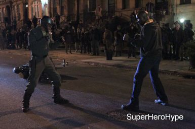 "NEW YORK, NY - MAY 23: Mike Colter, Erik LaRay Harvey as ""Diamondback"" filming big fight scene in Marvel Studios ""Luke Cage"" on May 23, 2016 in New York City. (Photo by Steve Sands/GC Images)"