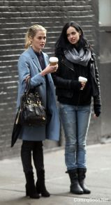 """NEW YORK, NY - NOVEMBER 15: Krysten Ritter (L) and Rachael Taylor filming Marvel's """"The Defenders"""" on November 15, 2016 in New York City. (Photo by Steve Sands/GC Images)"""