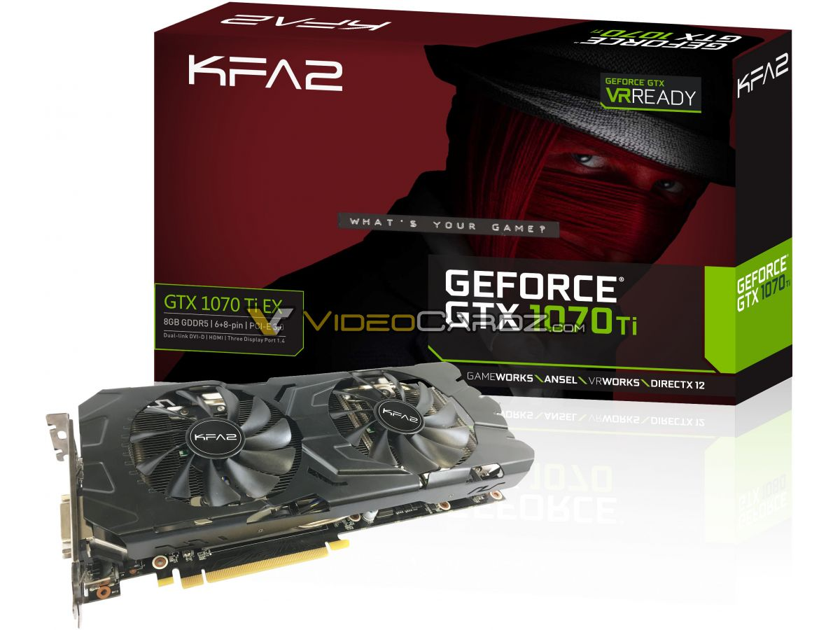KFA2 Nvidia GeForce GTX 1070Ti EX Pictured; 8GB GDDR5 & 6+8 PIN Power Confirmed