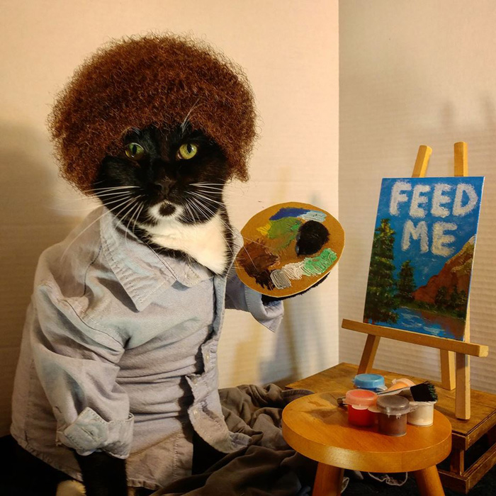 Bob Ross Cat Cosplay