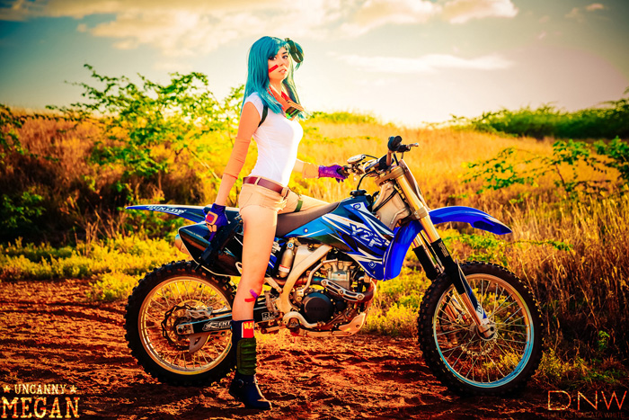 Wallpaper Geek Girl Motocross Bulma Cosplay