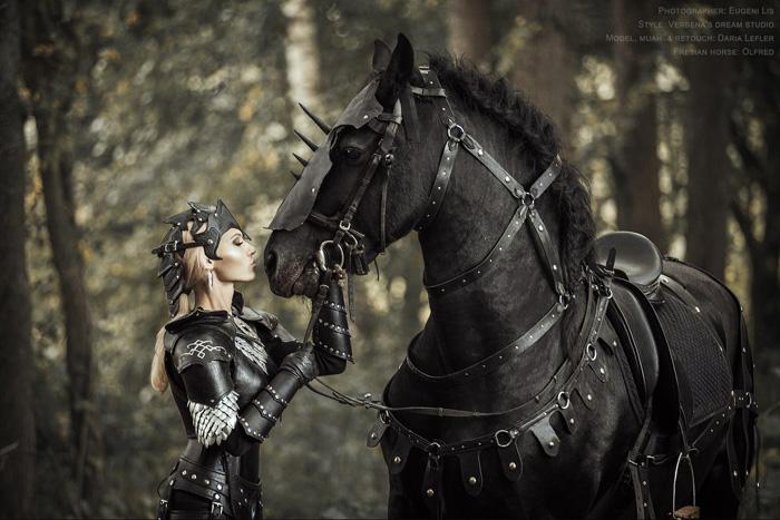 Black Wallpaper Girl Black Knight Fantasy Photoshoot