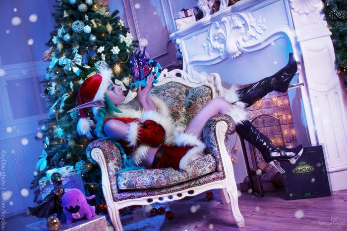 Wallpaper Gif Anime Christmas Night Elf Cosplay