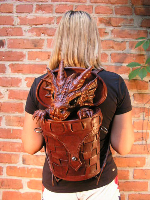 Dragon in Basket Leather BagBackpack