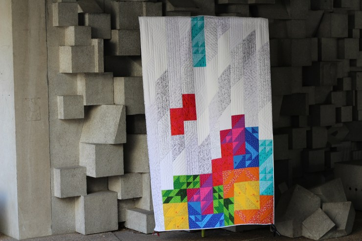geeky bobbin retro tetro quilt with cube wall