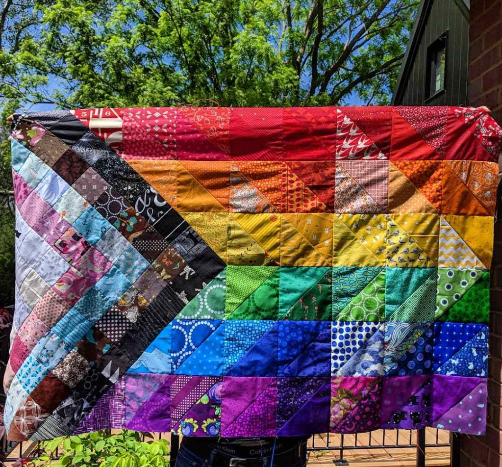 Progress>Pride quilt top by Geeky Bobbin