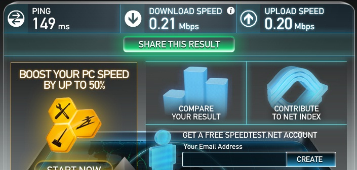 Speedtest Sun Broadband Internet results PM