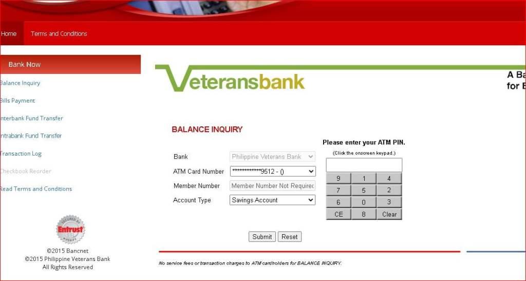 Veterans Bank Balance Inquiry